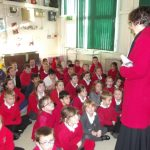 Mrs. Virginia Jones speaking to the pupils at Crymlyn Primary