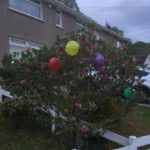16th AprilResidents of Pant y Sais decorate with balloons before clapping