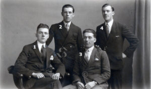 """137: The only clue to these men's identities is that written on the back of the photograph is """"To Mrs & Mrs Randall from George"""".   Can you name them please and are they from Skewen?"""