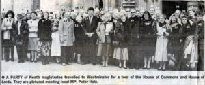 130: Neath magistrates on a visit to Westminster donated by Ann Davidson.  We have only half the names for this photograph.