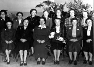 136:  An unknown group of ladies - possibly a W.I. group dating from the 1950's.  We have names for numbers 2,3 and 10 but who are the others?